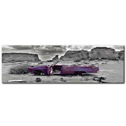 XXL-artprint, Premium Picture, 'Wrecked Cadillac', afm. 52x150 cm