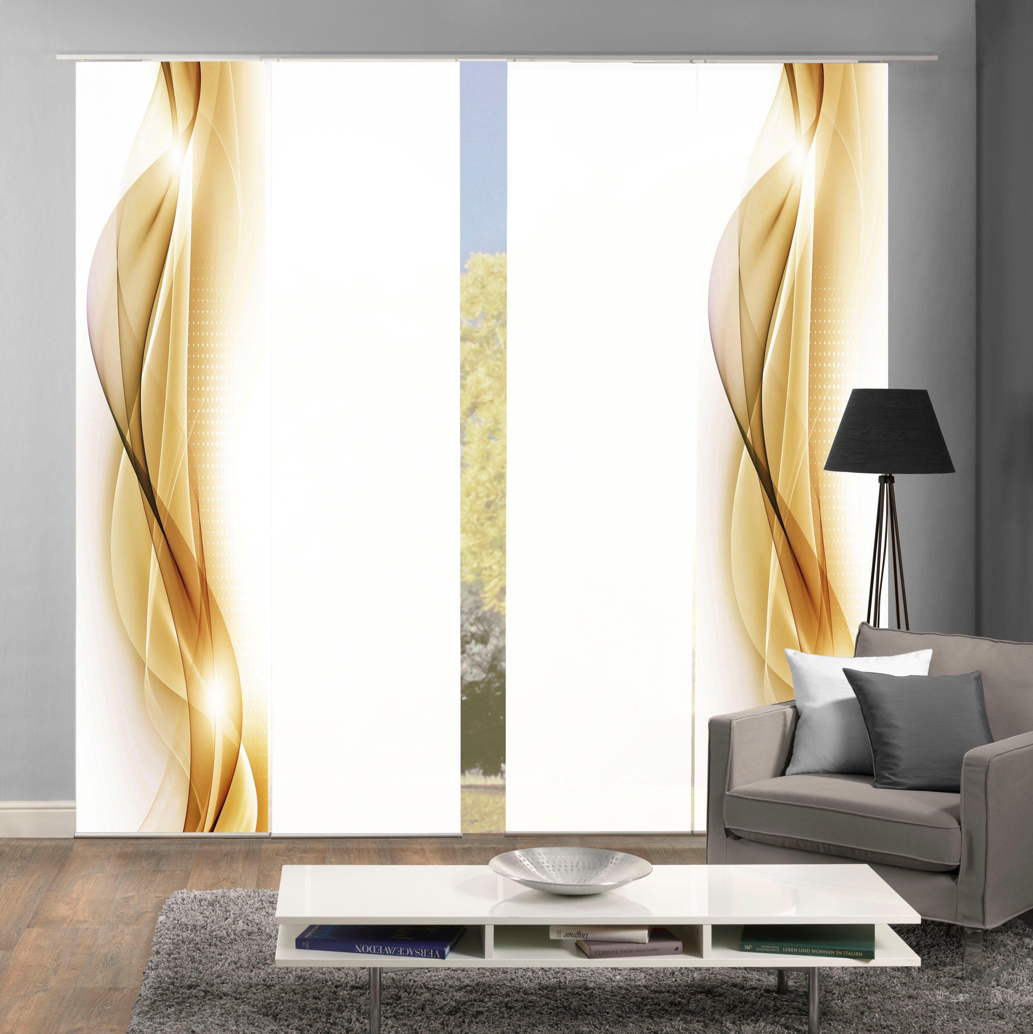 HOME WOHNIDEEN Paneelgordijn NEBLANA set van 4 Gordijnstof in zijde-look, digitaal bedrukt (4 stuks) nu online kopen bij OTTO