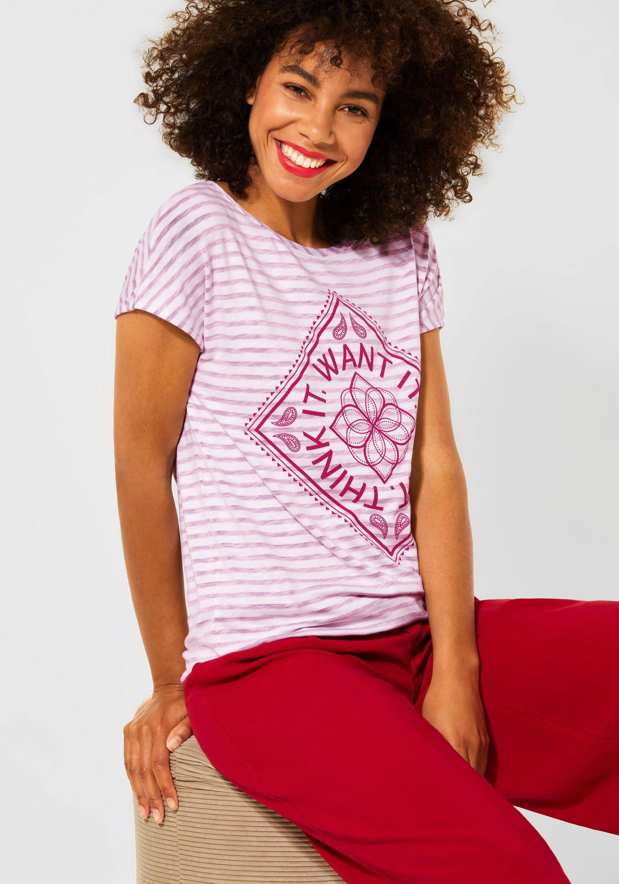 STREET ONE T-shirt met coole print nu online kopen bij OTTO