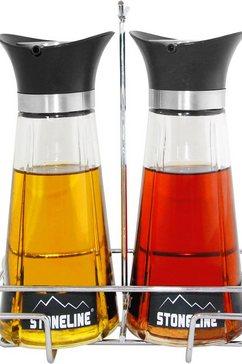 stoneline olie-en-azijnstel inclusief metalen standaard, 260 ml (set, 3-delig) wit