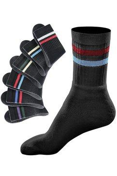 go in vrijetijdssokken met gekleurde strepen (6 paar) zwart