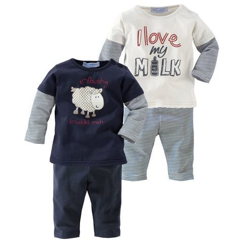 Babyworld 2 shirts met lange mouwen en 2 leggings, 4-delige set