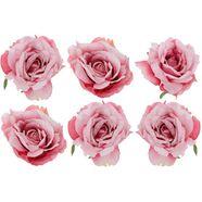 kerstboomversiering op clip rosen met clip voor bevestiging (set, 6-delig) roze