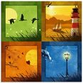 artland print op glas alle 4 seizoenen (1 stuk) multicolor