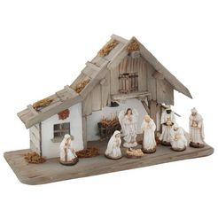 my home kribbe van hout met led-lantaarn, inclusief kerstfiguren (set, 9 delig) beige