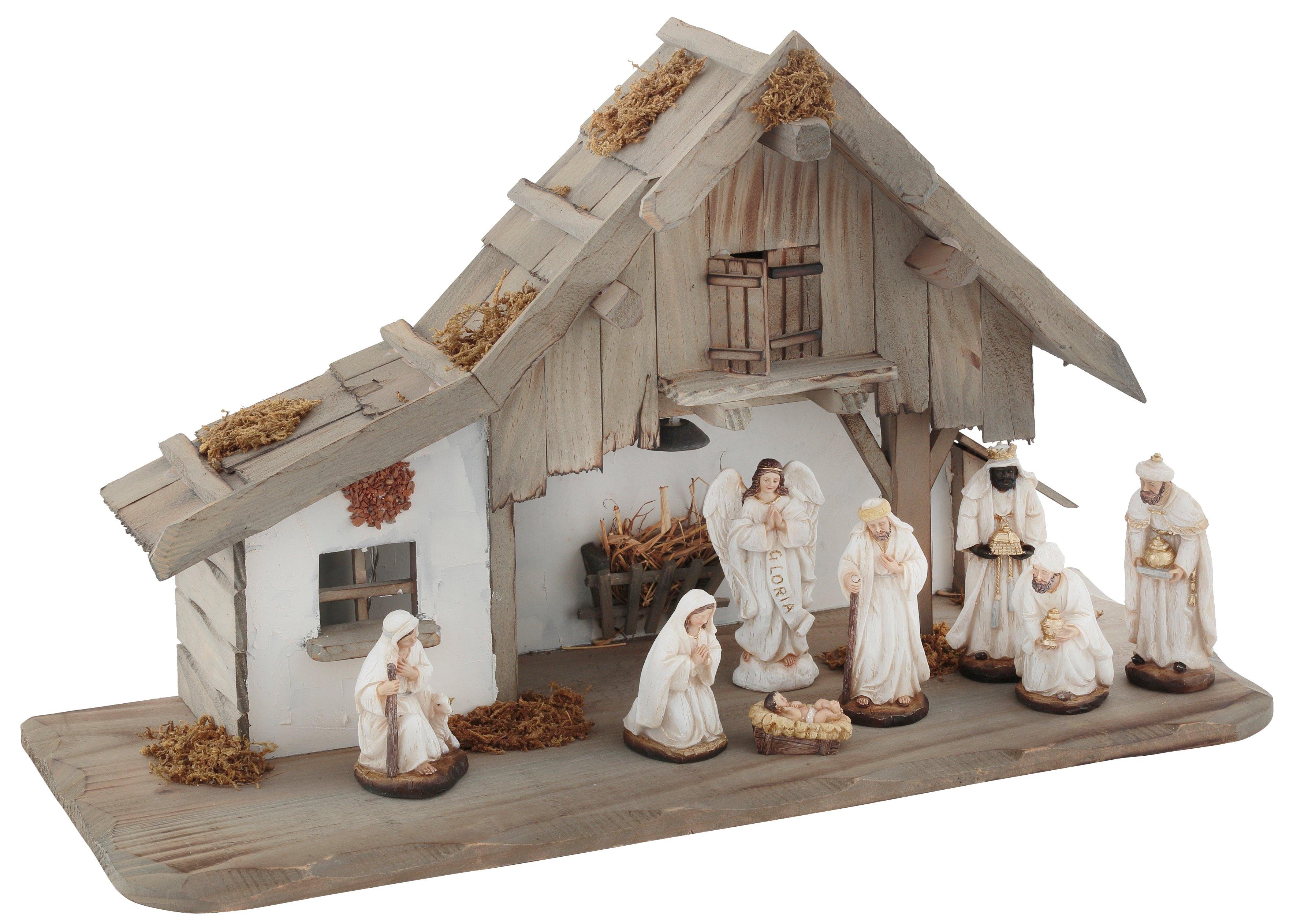my home kribbe van hout met led-lantaarn, inclusief kerstfiguren (set, 9 delig) bij OTTO online kopen