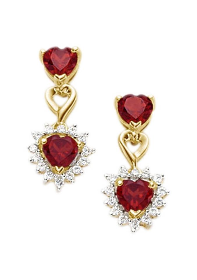 Firetti Vivance Jewels oorbellen: oorstekers »Hart« met granaat en zirkoon voordelig en veilig online kopen