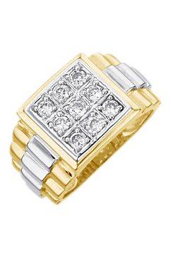 ring - zegelring met zirkoon goud