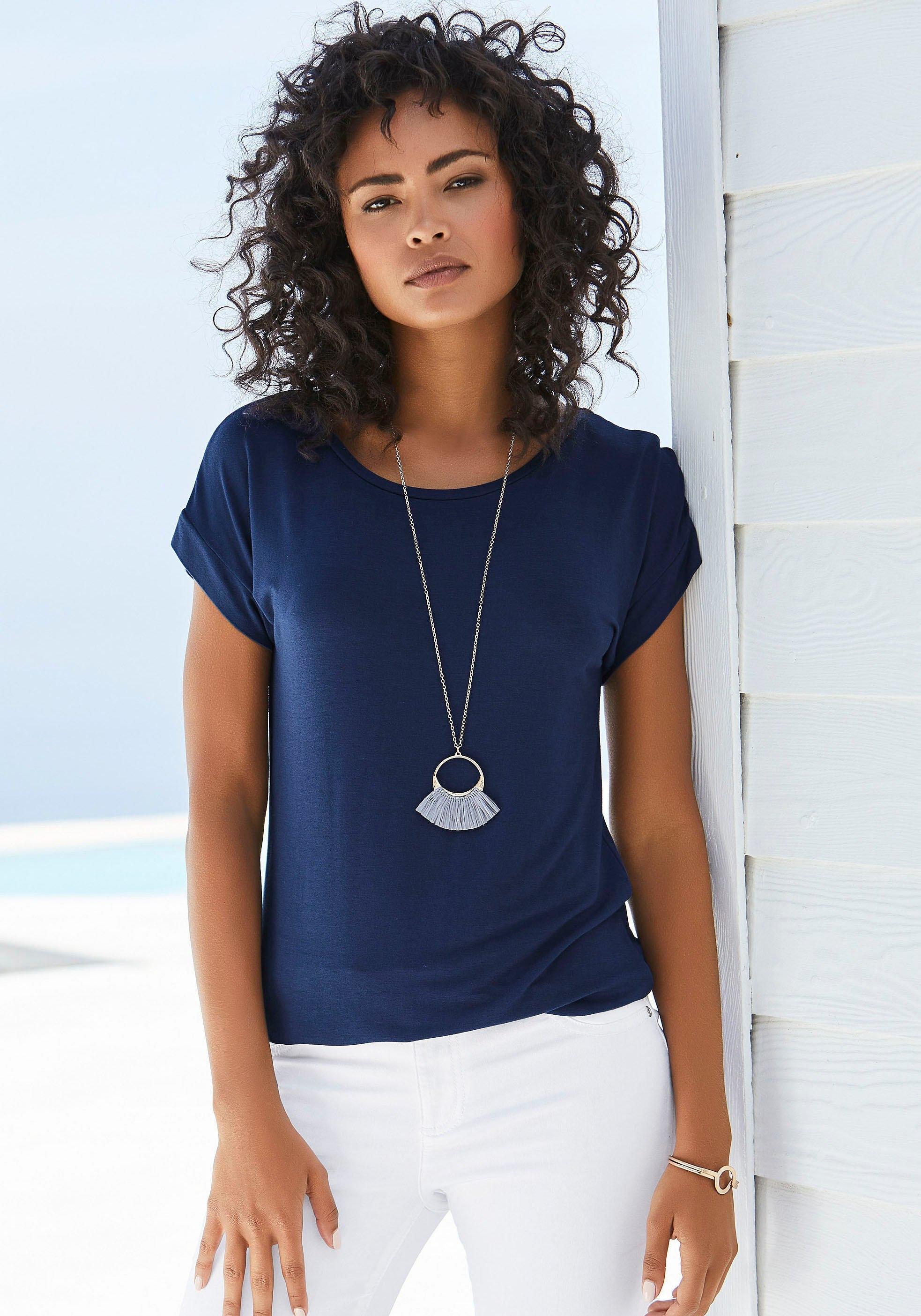 Vivance T-shirt met elastische zoomrand in de webshop van OTTO kopen