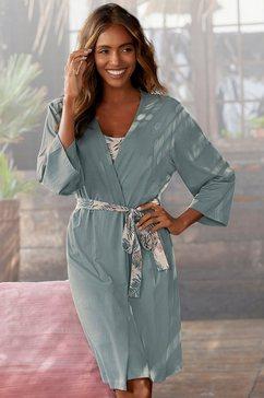lascana kimono in uni en print all-over groen