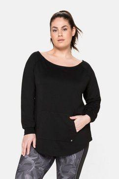 sheego sweatshirt met kangoeroezak, van functioneel materiaal zwart