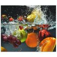 artland keukenwand fruit in opspattend water zelfklevend in vele maten - spatscherm keuken achter kookplaat en spoelbak als wandbescherming tegen vet, water en vuil - achterwand, wandbekleding van aluminium (1-delig) multicolor
