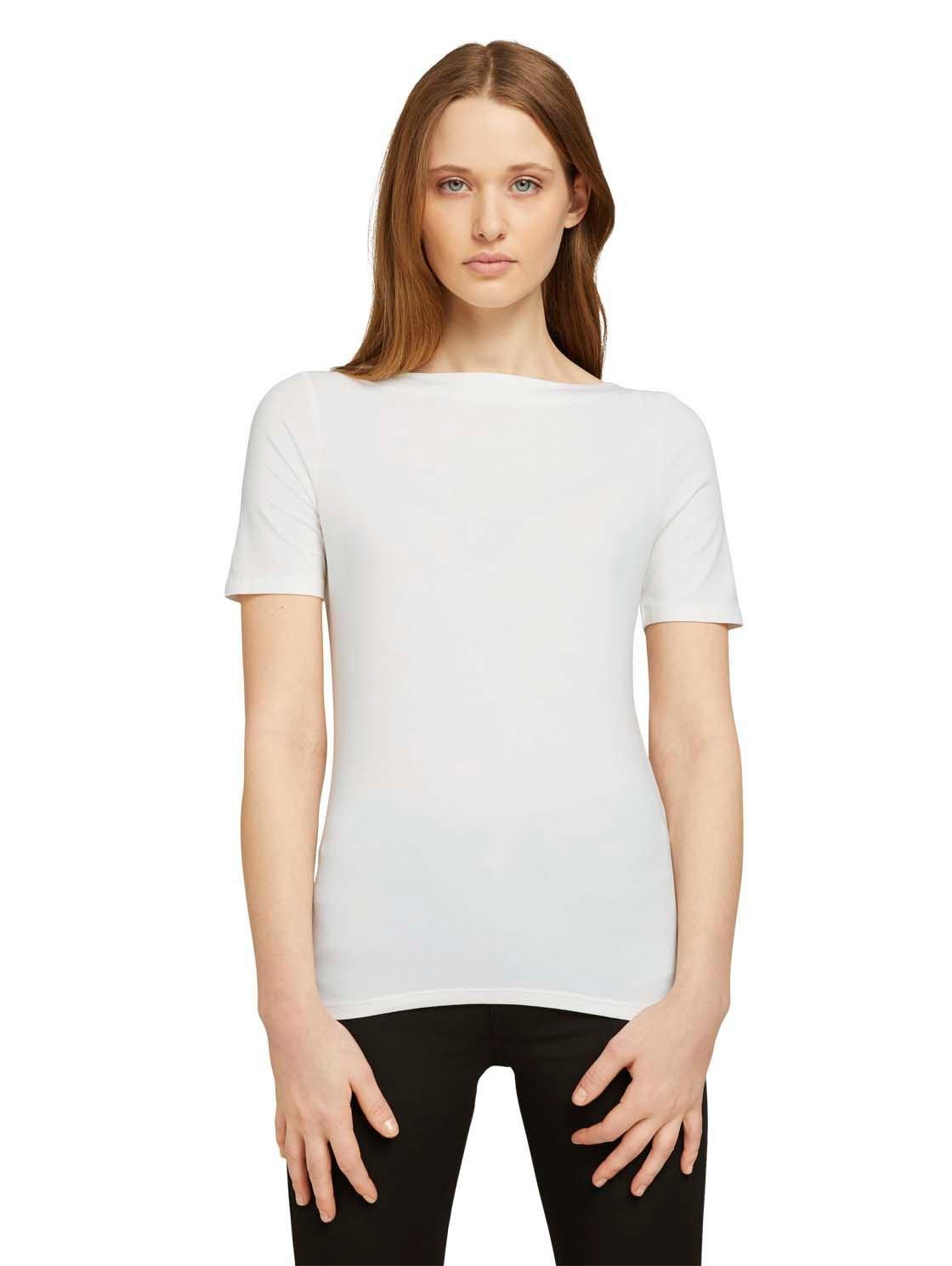 Tom Tailor Denim T-shirt met boothals bestellen: 30 dagen bedenktijd
