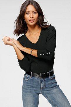 laura scott shirt met v-hals met een diepe rug van ribkwaliteit - nieuwe collectie zwart