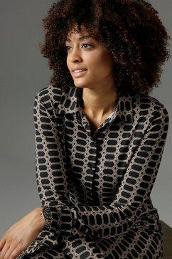aniston selected jurk met overhemdkraag in kettingprint - nieuwe collectie zwart