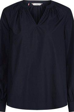 tommy hilfiger blouse zonder sluiting crisp poplin v-nk blouse ls met kleine v-hals blauw