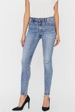 vero moda skinny fit jeans »vmlydia destroyed« blauw