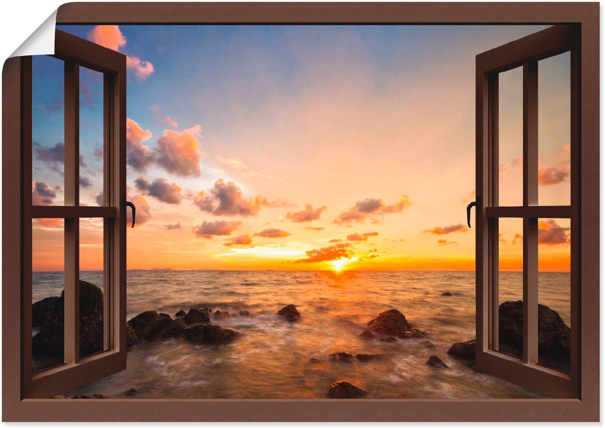 Artland Artprint Blik uit het venster zonsondergang aan zee in vele afmetingen & productsoorten - artprint van aluminium / artprint voor buiten, artprint op linnen, poster, muursticker / wandfolie ook geschikt voor de badkamer (1 stuk) nu online bestellen