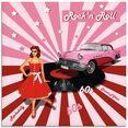 artland print op glas rock'n roll van de jaren 50 (1 stuk) roze