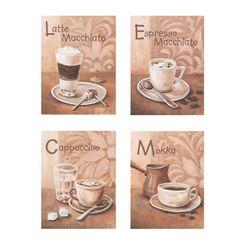 artprint koffievariaties i in 4-delige set bruin
