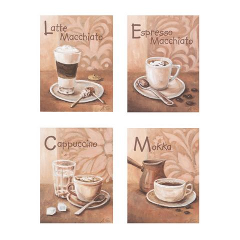 Artprint Koffievariaties I in 4-delige set