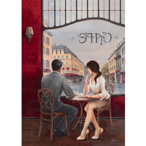 Artprint op linnen 'Cafe', afm. 60x80 cm