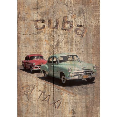 Artprint op hout 'Cuba - El Taxi', afm. 60x80 cm
