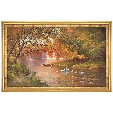 Artprint met lijst 'Swan Family II', afm. 113x73 cm