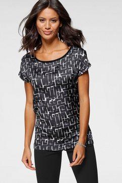 bruno banani gedessineerde blouse met verschillende prints voor zwart