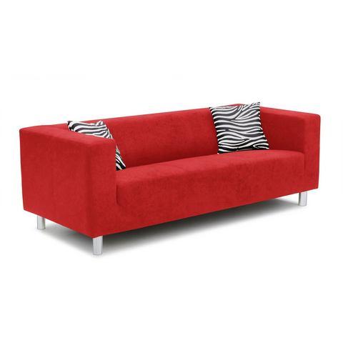 woonkamer driepersoons bankstel rood Primabelle inclusief sierkussens