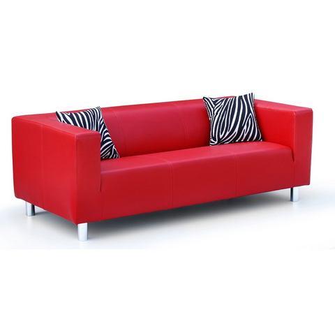 woonkamer driepersoons bankstel rood luxe-imitatieleer inclusief sierkussens