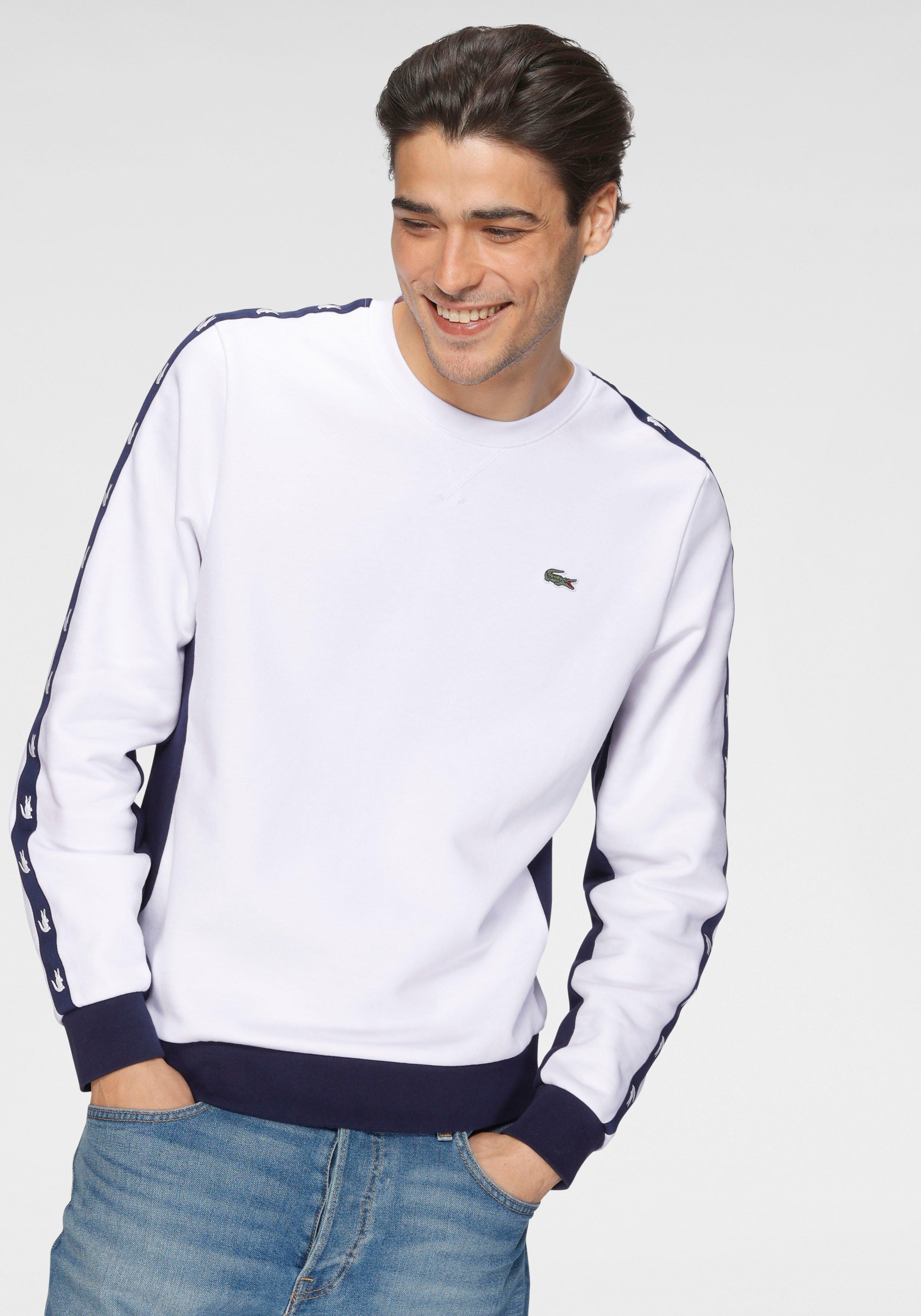 Lacoste sweatshirt Strepen met logo op de mouw nu online kopen bij OTTO