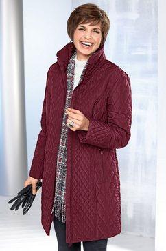 doorgestikte mantel met staande kraag rood