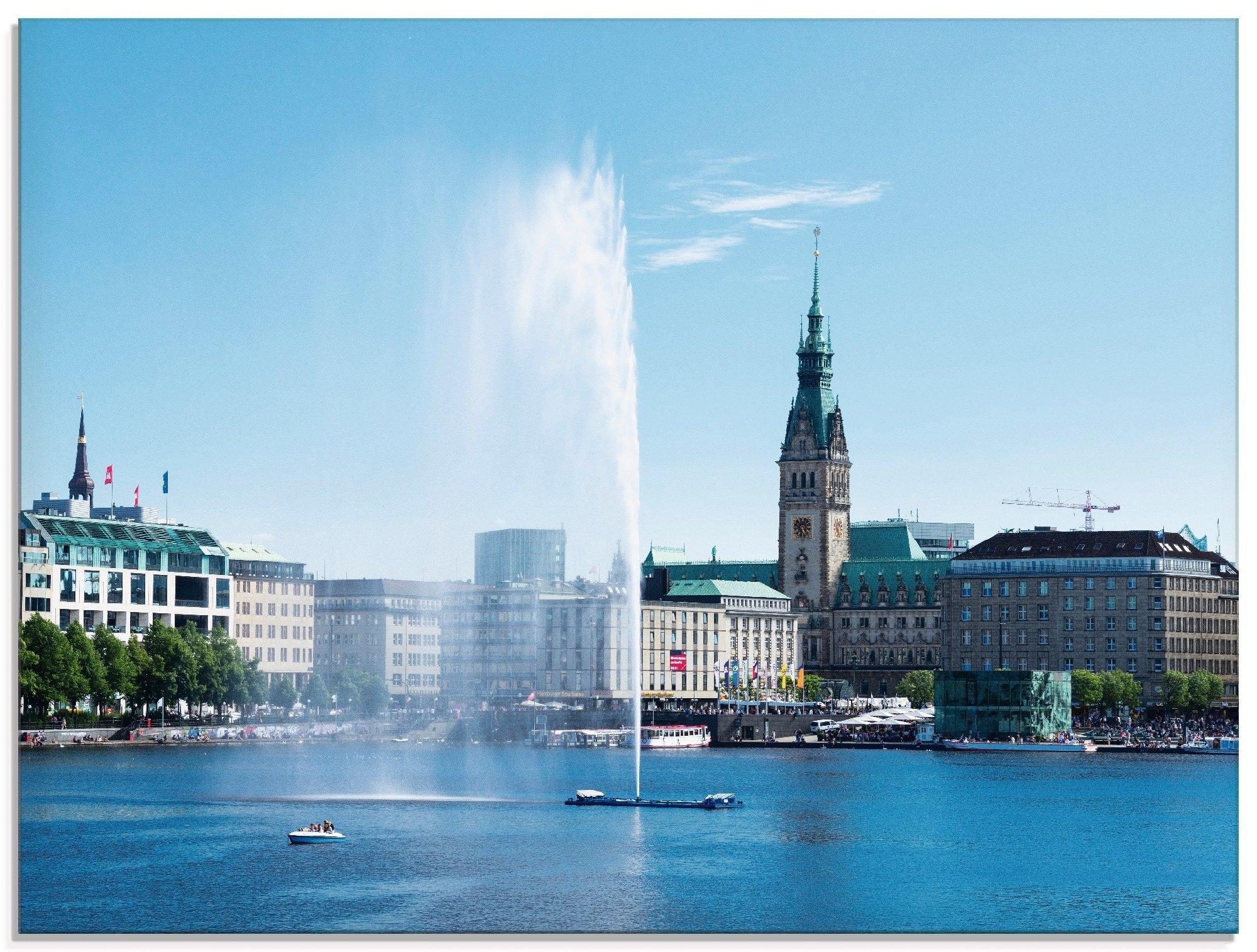 Artland print op glas Hamburg Alsterfontein met stadhuis (1 stuk) goedkoop op otto.nl kopen