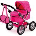 bayer poppenwagen trendy, pink met luiertas roze