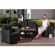 konifera tuinmeubelset »st. tropez « 11-delig, 2-zitsbank, 2 fauteuils, tafel 90x55 cm, poly-rotan zwart