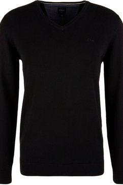 s.oliver trui met v-hals unikleur zwart