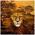 artland print op glas leeuw van het land (1 stuk) bruin