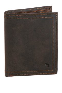h.i.s portemonnee van leer in lengteformaat bruin