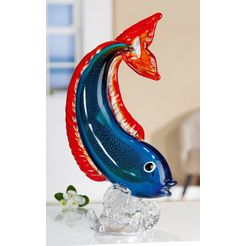 gilde glas art decoratief figuur sculptuur vis decoratief object, dierfiguur, hoogte 32 cm, van gekleurd glas, met de mond geblazen, woonkamer (1 stuk) blauw