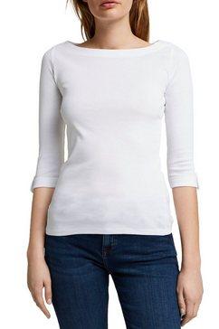 esprit shirt met 3-4-mouwen met klein bandje bij de mouwzoom wit