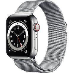 apple »series 6 gps + cellular, edelstahlgehaeuse mit milanaise armband 40mm« watch zilver