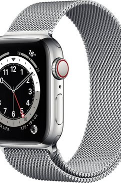 apple »series 6 gps + cellular, edelstahlgehaeuse mit milanaise armband 40mm« watch
