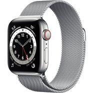 apple watch series 6 gps + cellular, edelstalen kast met milanaisebandje 40 mm inclusief oplaadstation (magnetische oplaadkabel) zilver