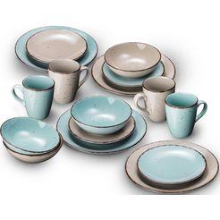 arte viva combi-servies puro kleurenset in turquoise en beige, aanbevolen door de topkok thomas wohlfarter (set, 32-delig) multicolor