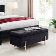 leonique slaapkamerbankje aubrey zitoppervlak doorgestikt, met opbergruimte zwart
