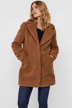 vero moda lange jas van imitatiebont vmdonna teddy coat bruin