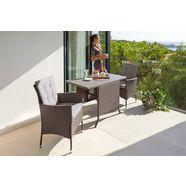 konifera tuinmeubelset milaan 2 fauteuils, tafel 112x65 cm, polyrotan (7 delig) bruin