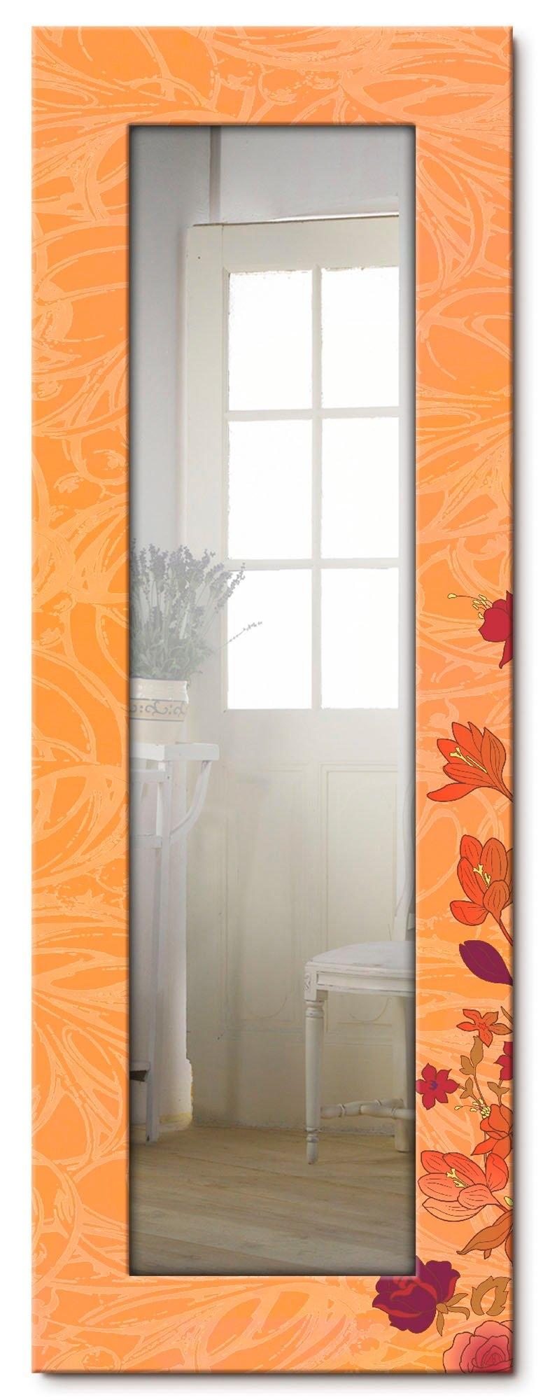 Artland wandspiegel Bloemen oranje ingelijste spiegel voor het hele lichaam met motiefrand, geschikt voor kleine, smalle hal, halspiegel, mirror spiegel omrand om op te hangen voordelig en veilig online kopen