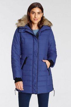 alpenblitz winterjack bern tijdloze doorgestikte mantel met een afneembare capuchon blauw